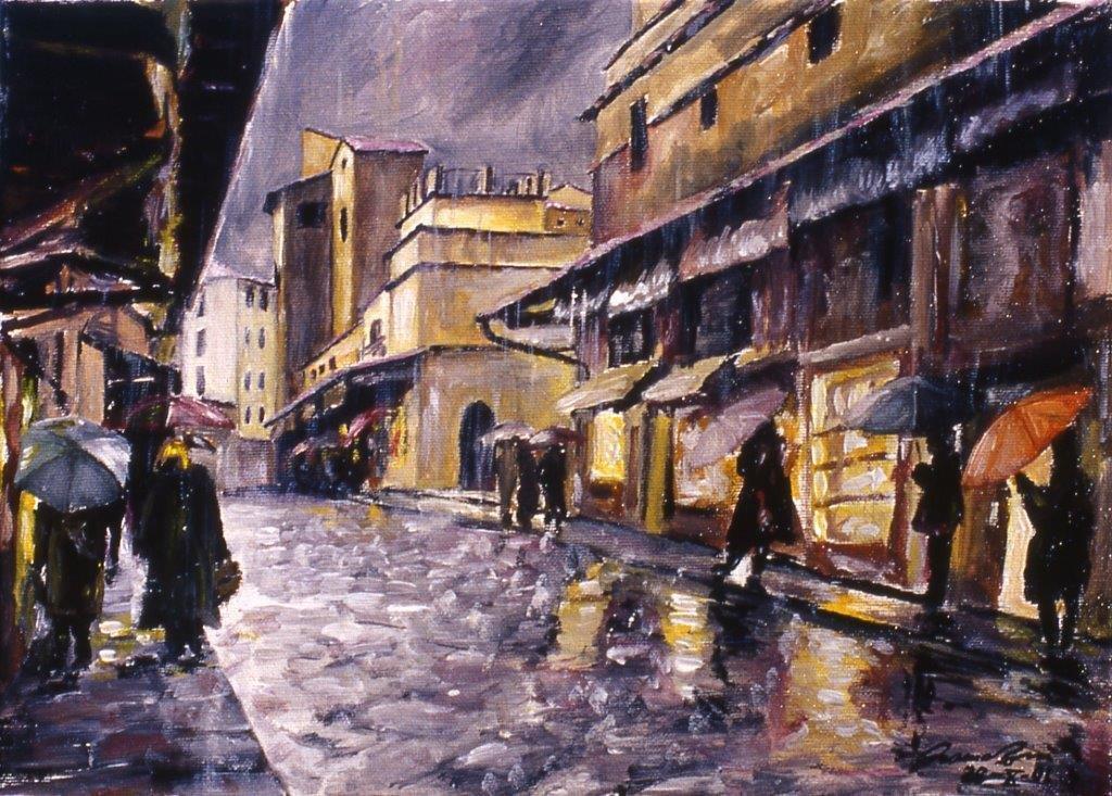 Pioggia sul Ponte Vecchio